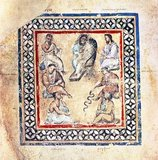 The second medical image from the Codex Vienna Dioscorides (Constantinople, 512) named after the top center physician Galen described. Continued clockwise: Pedanios Dioscorides, Nicander (with snake), Ruphos (Rufus) of Ephesus, Andreas (personal physician of Ptolemy IV Philopator), Apollonius (Identification unclear: either Apollonius of Pergamon, Apollonius of Kiton or Apollonius Mys) and Krateuas.<br/><br/>  The Vienna Dioscurides or Vienna Dioscorides is an early 6th century illuminated manuscript of De Materia Medica by Dioscorides in Greek. It is an important and rare example of a late antique scientific text. The 491 vellum folios measure 37 by 30 cm and contain more than 400 pictures of animals and plants, most done in a naturalistic style.<br/><br/>  In addition to the text by Dioscorides, the manuscript has appended to it the Carmen de herbis attributed to Rufus, a paraphrase of an ornithological treatise by a certain Dionysius, usually identified with Dionysius of Philadelphia, and a paraphrase of Nicander's treatise on the treatment of snake bites.<br/><br/>  The manuscript was created in about 515 and was made for the Byzantine princess Juliana Anicia, the daughter of Emperor Anicius Olybrius. Although it was originally created as a luxury copy, there is some indication that in later centuries it was used daily as a hospital textbook. It includes some annotations in Arabic.<br/><br/>  The manuscript was discovered in Istanbul in the 1560s by the Flemish diplomat Ogier Ghiselin de Busbecq who was in the employ of Emperor Ferdinand I. The Emperor bought the manuscript and it is now held in the Österreichische Nationalbibliothek in Vienna. The manuscript was inscribed on UNESCO's Memory of the World Programme Register in 1997 in recognition of its historical significance.