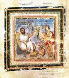 The first author picture from the Vienna Dioscorides (fol. 4 verso): Heuresis (the personification of discovery) presents the physician Dioscorides Pedanios with a mandrake root. Since these should emit a deadly scream when harvested, they werepulled out of the ground by a dog. Heurensis therefore has the dead animal lying at her feet.<br/><br/>  The Vienna Dioscurides or Vienna Dioscorides is an early 6th century illuminated manuscript of De Materia Medica by Dioscorides in Greek. It is an important and rare example of a late antique scientific text. The 491 vellum folios measure 37 by 30 cm and contain more than 400 pictures of animals and plants, most done in a naturalistic style.<br/><br/>  In addition to the text by Dioscorides, the manuscript has appended to it the Carmen de herbis attributed to Rufus, a paraphrase of an ornithological treatise by a certain Dionysius, usually identified with Dionysius of Philadelphia, and a paraphrase of Nicander's treatise on the treatment of snake bites.<br/><br/>  The manuscript was created in about 515 and was made for the Byzantine princess Juliana Anicia, the daughter of Emperor Anicius Olybrius. Although it was originally created as a luxury copy, there is some indication that in later centuries it was used daily as a hospital textbook. It includes some annotations in Arabic.<br/><br/>  The manuscript was discovered in Istanbul in the 1560s by the Flemish diplomat Ogier Ghiselin de Busbecq who was in the employ of Emperor Ferdinand I. The Emperor bought the manuscript and it is now held in the Österreichische Nationalbibliothek in Vienna. The manuscript was inscribed on UNESCO's Memory of the World Programme Register in 1997 in recognition of its historical significance.