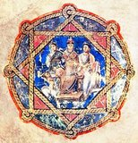 A dedication to Juliana Anikias in the Vienna Dioscorides (fol sixth verso). The enthroned princess is flanked by allegorical figures of generosity and wisdom.<br/><br/>  The Vienna Dioscurides or Vienna Dioscorides is an early 6th century illuminated manuscript of De Materia Medica by Dioscorides in Greek. It is an important and rare example of a late antique scientific text. The 491 vellum folios measure 37 by 30 cm and contain more than 400 pictures of animals and plants, most done in a naturalistic style.<br/><br/>  In addition to the text by Dioscorides, the manuscript has appended to it the Carmen de herbis attributed to Rufus, a paraphrase of an ornithological treatise by a certain Dionysius, usually identified with Dionysius of Philadelphia, and a paraphrase of Nicander's treatise on the treatment of snake bites.<br/><br/>  The manuscript was created in about 515 and was made for the Byzantine princess Juliana Anicia, the daughter of Emperor Anicius Olybrius. Although it was originally created as a luxury copy, there is some indication that in later centuries it was used daily as a hospital textbook. It includes some annotations in Arabic.<br/><br/>  The manuscript was discovered in Istanbul in the 1560s by the Flemish diplomat Ogier Ghiselin de Busbecq who was in the employ of Emperor Ferdinand I. The Emperor bought the manuscript and it is now held in the Österreichische Nationalbibliothek in Vienna. The manuscript was inscribed on UNESCO's Memory of the World Programme Register in 1997 in recognition of its historical significance.